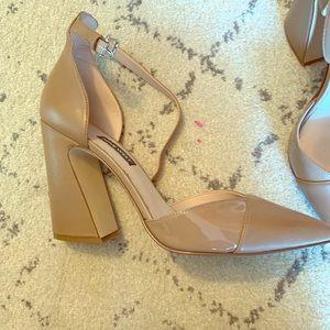 Nine West nude ankle strap pumps